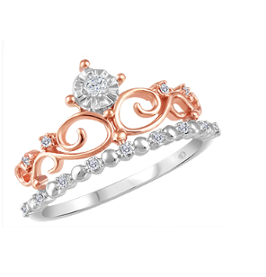 (0.049cttw) White Gold and Rose Gold Crown Ring