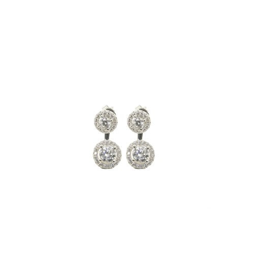 Sterling Silver Double Halo Jacket Earrings