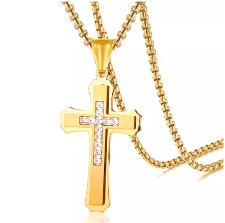 Stainless Steel Cross Pendant with Cubic Zirconia