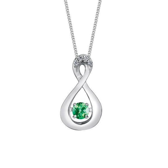 (0.01cttw) White Gold and Emerald/Diamond Pendant