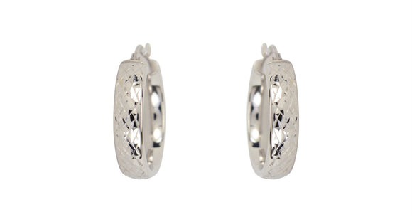 Whitegold Diamond Cut Hoops