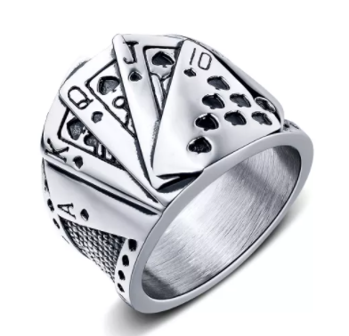 Royal Flush Playing Card Ring
