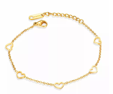 5 Heart Charms Linked Bracelet