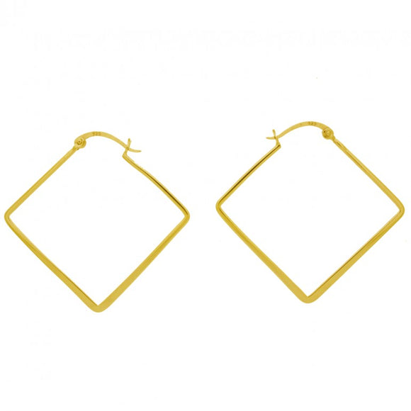 Gold Finish Flat Diamond Shape Hoop