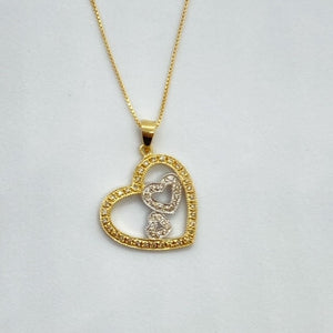 (0.25cttw) Two Tone 3 Hearts Diamond Necklace