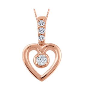 (0.034ct) Rose Gold Heart Necklace
