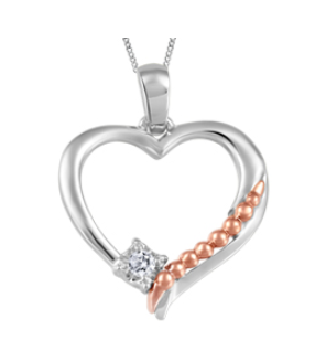 (.025ct)White and Rose Gold Heart Necklace