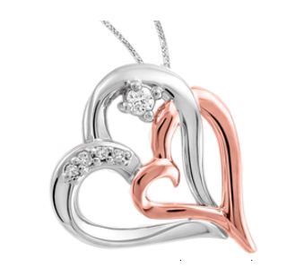 (0.039cttw) White and Rose Gold Heart Necklace with Canadian Diamond