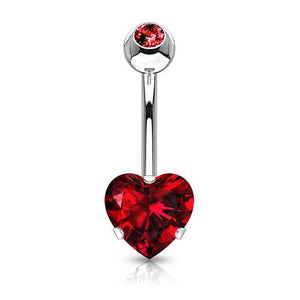 Surgical Steel Heart Belly Button Ring