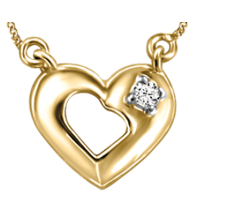 (0.03ct) Yellowgold Heart Necklace with Canadian Diamond
