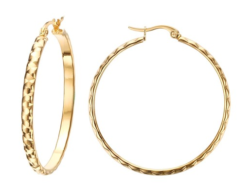 42mm Stainless Steel Diamond Cut Gold Hoop