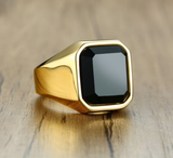 Stainless Steel Mens Black Agate Ring