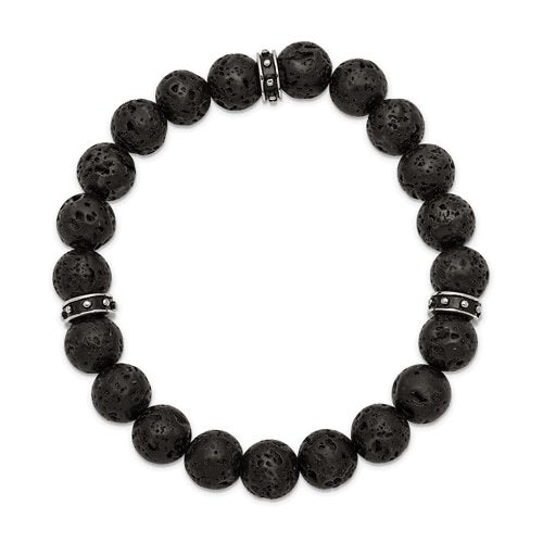 Lava Stone Bead Bracelet with Black Enamel Spacer