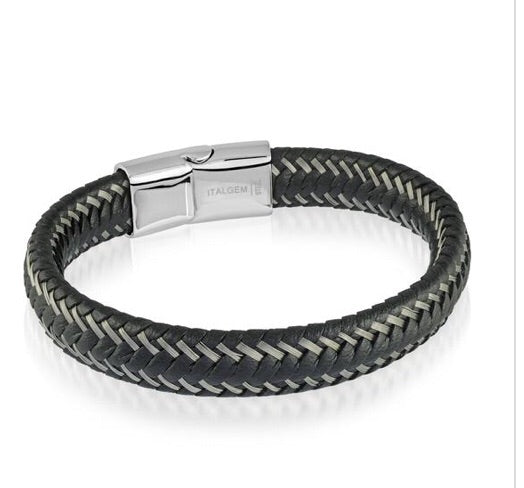 Wire-Braided Black Leather Bracelet