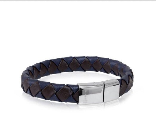 Brown and Blue Leather Bracelet