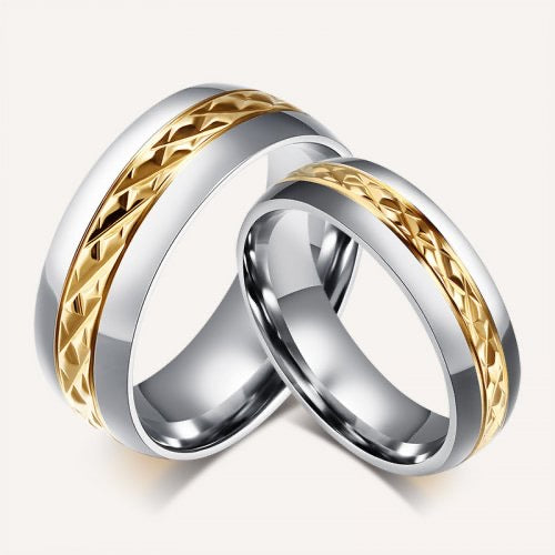Couple's Stainless Steel Two Tone Bands