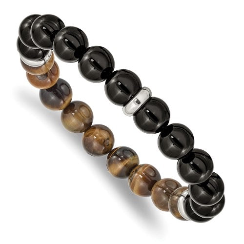 Black Agate and Tiger's Eye Bead Bracelet and Stainless Steel Spacer