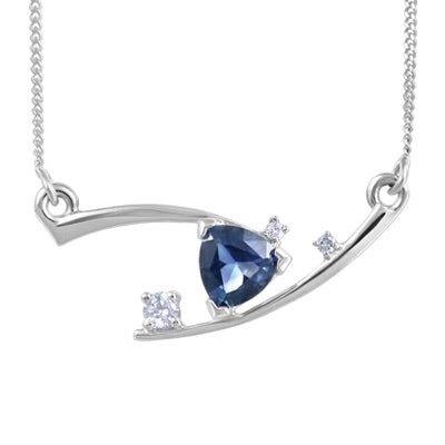 (0.03cttw) WhiteGold Sapphire and Diamond Necklace