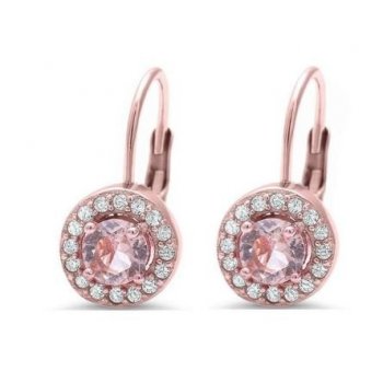 Morganite and Cubic Zirconia Leverback Earrings