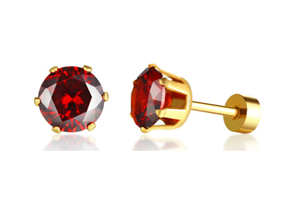 Stainless Steel Birthstone Stud Earrings (July)