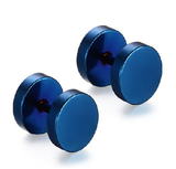 Blue Stainless Steel Studs Tunnel Earring Plugs