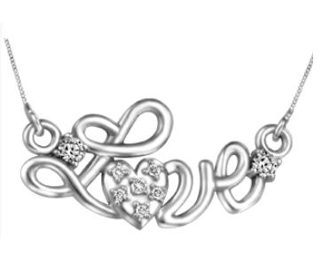 (0.035cttw) Whitegold Love Necklace with Canadian Diamond
