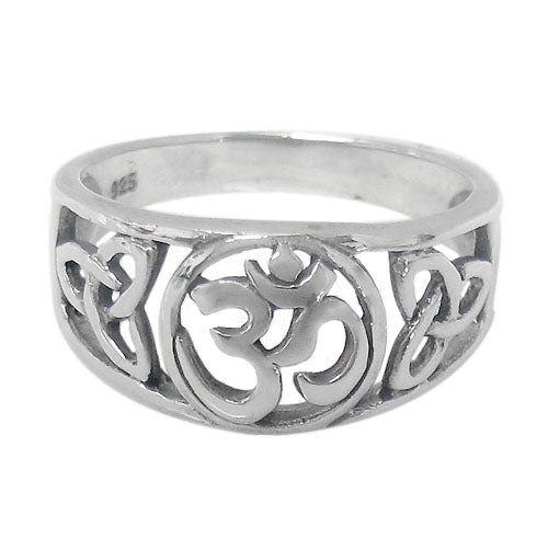 Om and Celtic Ring in Sterling Silver