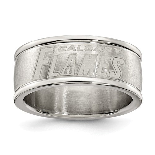 Calgary Flames Stainless Steel Ring