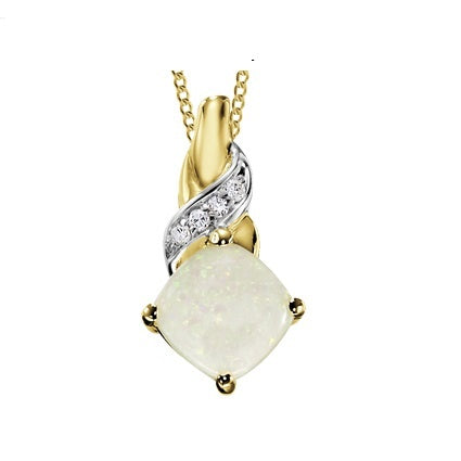 (0.02cttw) Yellow Gold Opal and Diamond Pendant
