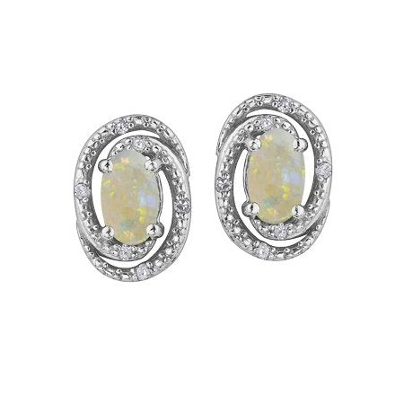 (0.03cttw) Silver Opal Diamond Earrings