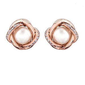 Rosegold Pearl and Diamond Studs