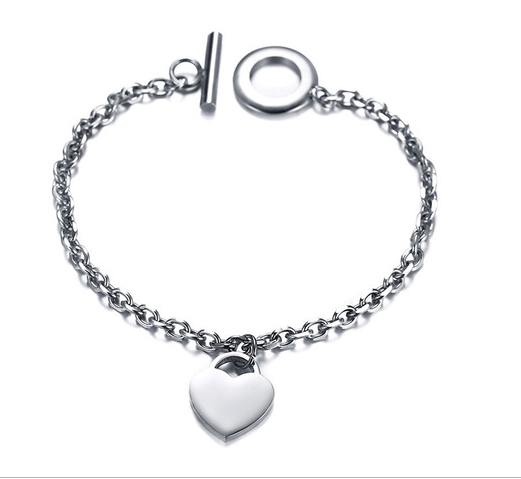 Steel Toggle Heart Bracelet