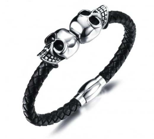Black Leather Skull Bracelet