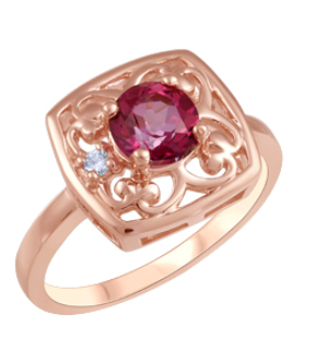 (.025Ct) Rosegold and Pink Topaz Ring Canadian Ring