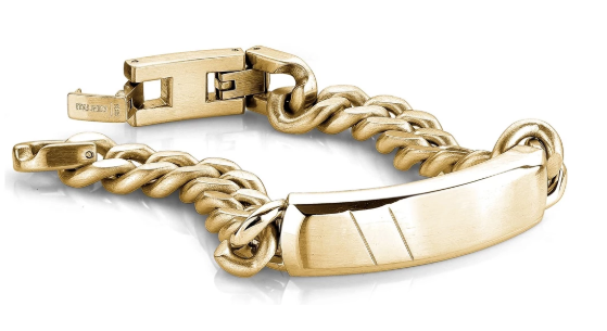 Steel Gold Plated Curb Id bracelet