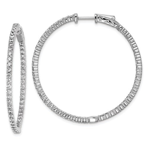 Sterling Silver 38mm CZ Stones In And Out Round Hoop Earrings