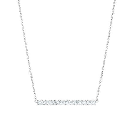 (0.25ct) Whitegold Bar Necklace with Diamonds