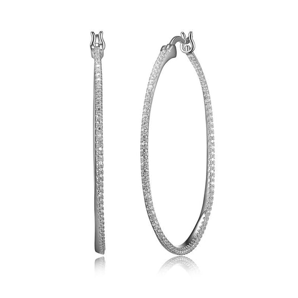 Sterling Silver CZ Pavee Oval Hoop Earrings