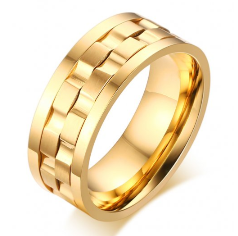 Stainless Steel Gold Ip Spinner Ring