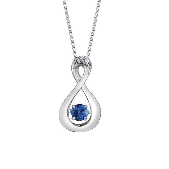 (0.01cttw) White Gold and Sapphire/Diamond Pendant
