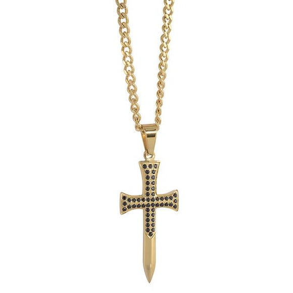 Gold Cross Necklace with Black Cz