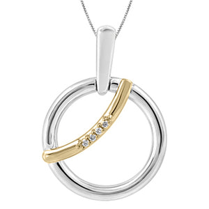 (0.015ct) Gold and Silver Canadian Diamond Pendant
