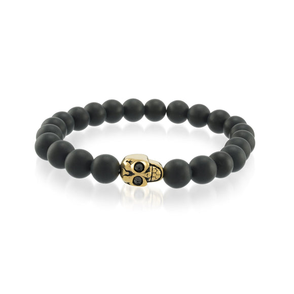 Black Matte Skull and Onyx Bead Bracelet