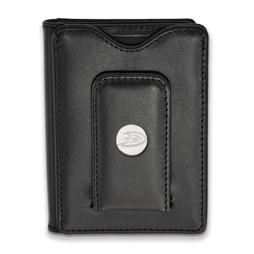 Anaheim Ducks Black Leather Money Clip Wallet