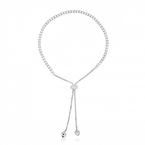 Sterling Silver Bezel Set Adjustable Lariat Bracelet