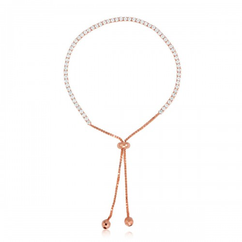 Sterling Silver Rosegold Finish Adjustable Lariat Bracelet