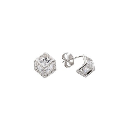 Sterling Silver Geometric cube studs with Cubic Zirconia