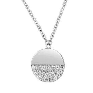 Half CZ Sterling Silver Circle Necklace