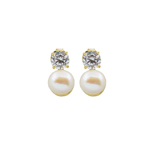 Sterling Silver Cz Pearl Studs