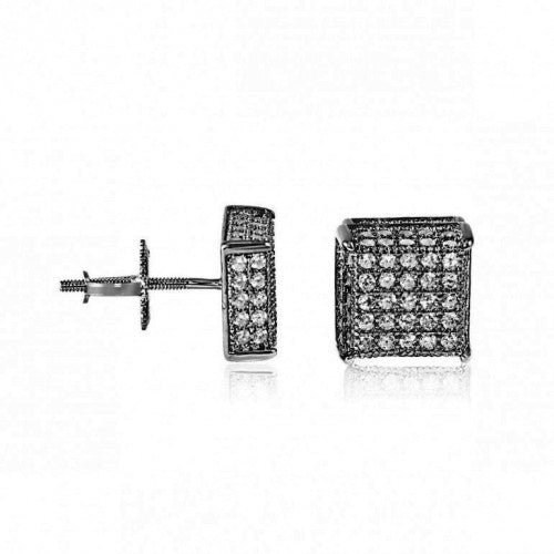 Black Cz Square Screwback Studs